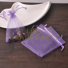100pc 12x9cm Organza Wedding Party Decoration Gift Candy Sheer Bags Light Purple