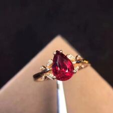 Certified Natural Ruby Ring 925 Silver Sterling Plated Rose Gold Women Gift