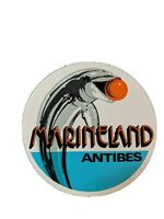 Vintage Marineland Antibes Round Sticker French Riviera Dolphin Playing Ball