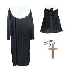 3pcs Ladies Nun Costume Cross Headscarf Robe for Party Cosplay Stage Performance