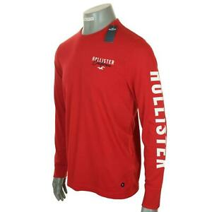 New Men's Authentic Hollister Long Sleeve Embroidered Logo T Shirt M L XL Red