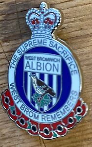 WBA WEST BROMWICH ALBION Poppy Badge The supreme Sacrifice West Brom Remembers