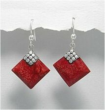 Sterling Silver & Coral Dangle Earrings, Red Coral Diamond Shape Silver Earrings