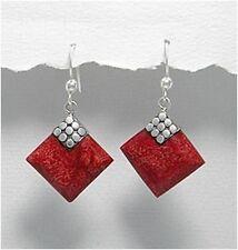 Sterling Silver & Coral Dangle Earrings, Red Coral Diamond Shape Silver Earrings