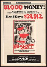 "SNUFF__Original 1976 Trade AD / poster__box office ""BLOOD MONEY!"" movie promo"