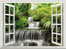3D Window View Tree Waterfall Forest Landscape Wall Sticker Vinyl Decal 72*51cm