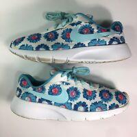 Nike Tanjun Print (GS) Running Shoes Girls White Blue 833668-400 US Size 5Y