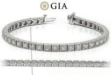10.22 ct Antique Deco Diamond Tennis 18k Gold Bracelet 34 x 0.30 ct GIA E-F VS
