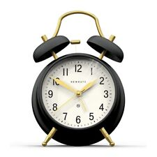 Classic Twin-Bell Alarm Clock Silent 'No Tick' Black And Brass Newgate Clocks