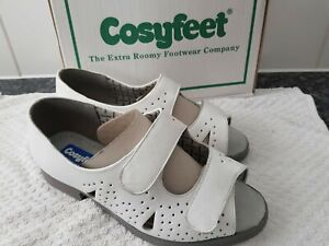 BNIB COSYFEET CONNIE WHITE COMFORT WIDE FIT ADJUSTABLE SANDAL SIZE UK 6 EU 39