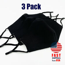 [3 PACK] Black Handmade Reusable Washable Cotton Cloth Face Mask 2 Layers Cover