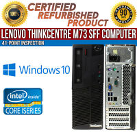 Lenovo ThinkCentre M73 SFF Intel i3 8GB RAM 500GB HDD Win 10 USB B Grade Desktop