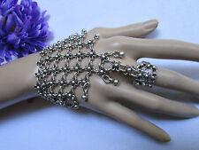 New Women Bracelet Fashion Slave Hand Chain Silver Metal Wide Multy  Flowers