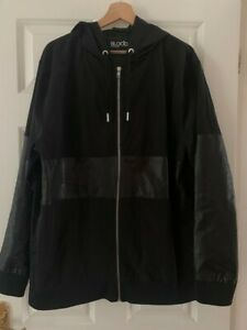 Blood Brother Mens black leather hoodie Natural leather on trims size XL