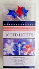 4TH OF JULY LED LIGHTS - SET OF 10 RED WHITE AND BLUE