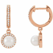 Freshwater Cultured Pearl & 1/5 ct. tw. Diamond Earrings In 14K Rose Gold