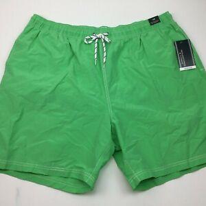 Roundtree & Yorke Men's Swimwear Swim Shorts Trunks Lined Lime Green Size 1XB