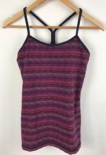 Lululemon Womens Purple Multi Striped Y Back Yoga Athletic Top US 6 AU 10