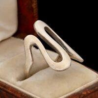Vintage Designer 925 Sterling Silver Wavy Modernist Swirl Band Ring Sz 5.5 4.5g