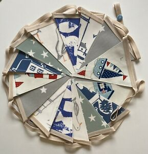 Handmade Oilcloth Bunting, Garden/Home Seaside 4 Meters Double Sided
