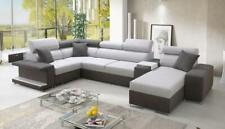 Luxurious Vector V Designer Leather Fabric Corner Sofa Bed