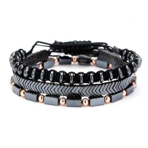 3Pcs Mens Bracelet Set Braided Rope Natural Hematite Bracelet Stone Adjustable