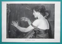 YOUNG LADY Playing Harp - VICTORIAN Era Engraving Print