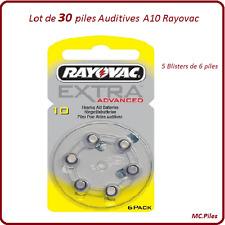 Lot de 30 piles boutons auditives A10 Rayovac, livraison rapide et gratuite