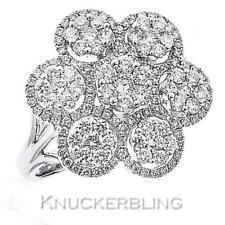 Diamond Flower Cluster Ring 1.50ct Brilliant Cut F VS set in 18ct White Gold