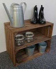 Large Wooden Apple Crate Shelf Vintage Style Shoe Rack Display Unit Brown