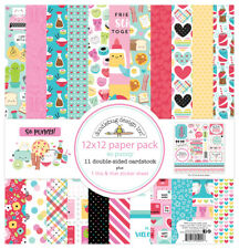 Scrapbooking Crafts 12X12 Paper Kit Doodlebug So Punny Food Faces Hearts Stripes