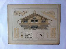 CHALET  L.BERTIN GRAVURE originale LA MENUISERIE MODERNE  XIXème