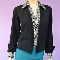 Womens Casual Work Long Sleeve Open Front Black Solid Blazer Jacket  XS-S-M-L