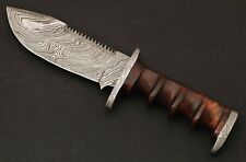 HANDMADE Damascus Steel Blade, Survival,Tracker Camping,Sporting Knife Rose Wood