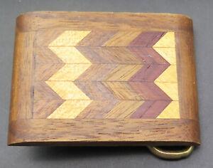 Vintage Handmade Wood Chunk with Eagle Belt Buckle
