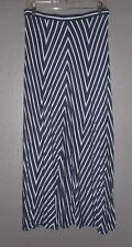 Max Studio M Navy White Chevron Print Jersey Knit Maxi Skirt career casual NWT