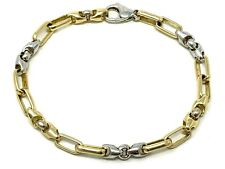 "14k Two Tone Gold Handmade Fashion Link Bracelet 7.5"" 5.5mm 15.2 grams"