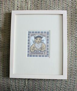 CARTOON CAT DRAWING IN WHITE FRAME AND MOUNT