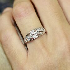 Diamond Wedding Anniversary Ring in 10k White Gold Wave Band size 6.5
