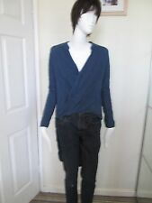 Forever 21- Blue V-Neck Wrap Front Long Back L/Sleeved Top SIZE Small 100% rayon
