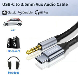 3.5mm to Type-C Car AUX Audio Nylon Braided DAC Cable For PC Car Phone Samsung