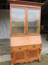 Superb Edwardian golden oak 2 part wide bureau bookcase fitted interior (560)