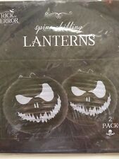 HALLOWEEN SCARY PUMPKIN PAPER LANTERNS, 2 PACK, SCARY DECORATIONS, BLACK & WHITE