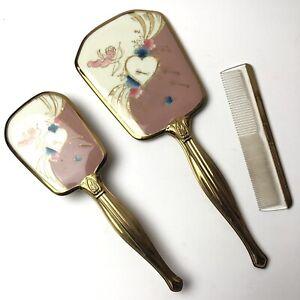 Vintage 1950s Mirror Brush Comb Vanity Set  Cupid with Gold Handles Cherub