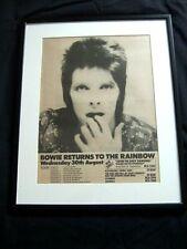 RARE DAVID BOWIE ORIGINAL 1972 RAINBOW LONDON CONCERT GIG TOUR POSTER AD FRAMED