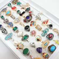 Wholesale 50pcs/Box Vintage Crystal Stone Mix Style Metal Jewelry Ring For Women
