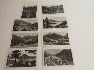 8 Vintage 1947 Switzerland small mini postcards Maloja hotel Lago di Lugano
