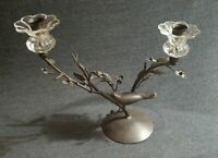 """Vintage Metal And Glass Double Candle Holder Bird And Flowered Branches 10"""""""