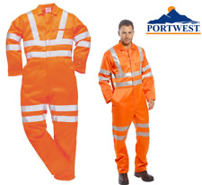 Portwest Hi Vis Boiler Suit Coverall Overall Reflective Railway Workwear RT42