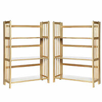 "Casual Home 3-Shelf Folding Stackable Bookcase (27.5"" Wide)-Natural (Pack of 2)"